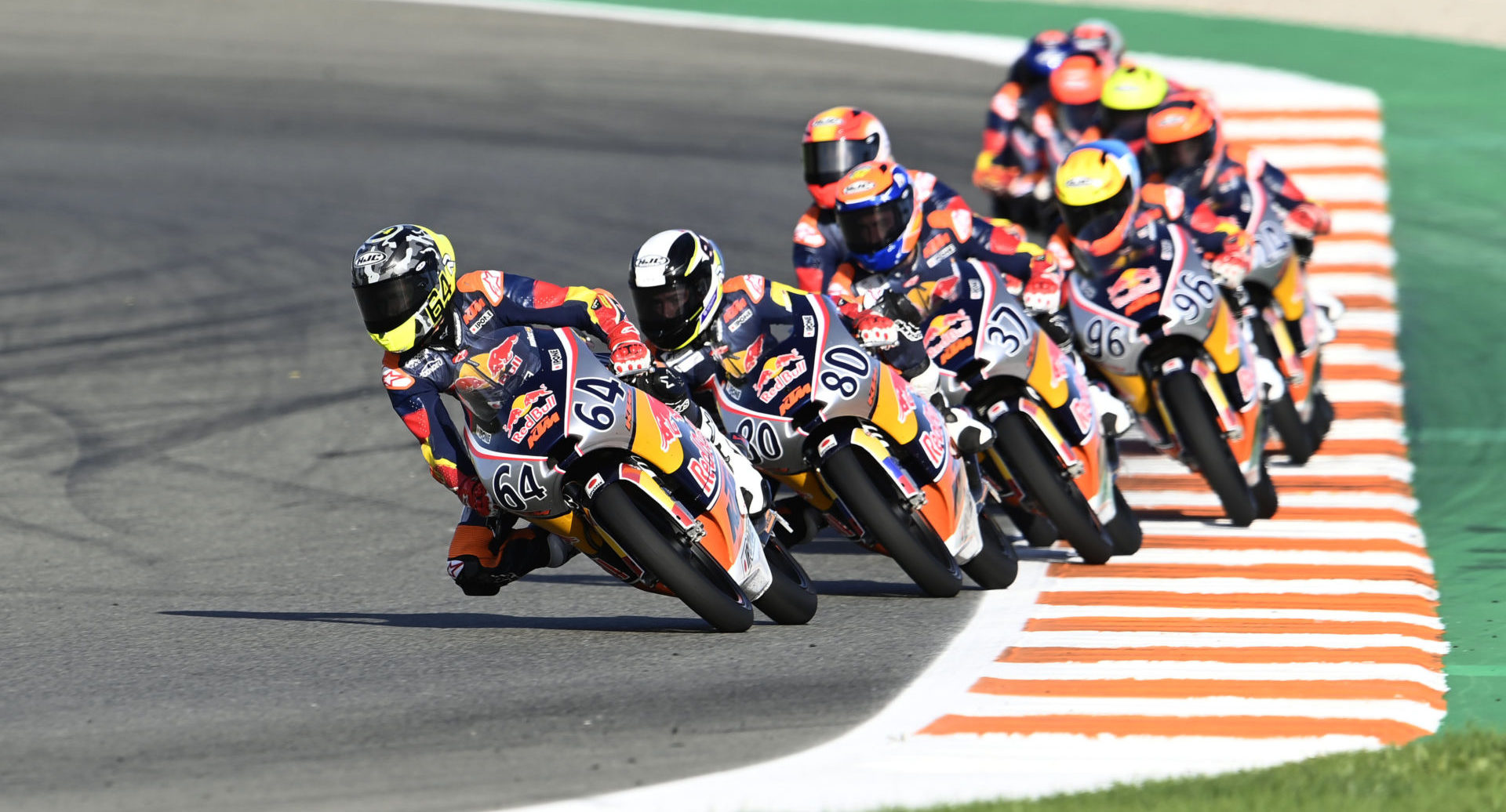David Munoz (64) leads Red Bull MotoGP Rookies Cup Race Two at Valencia II. Photo courtesy Red Bull.