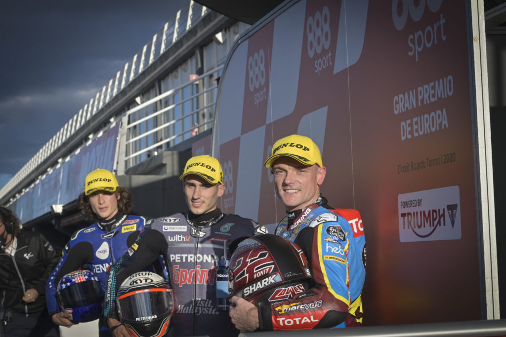 The Moto2 front-row qualifiers (from left): Joe Roberts, Xavi Vierge, and Sam Lowes. Photo courtesy Dorna.