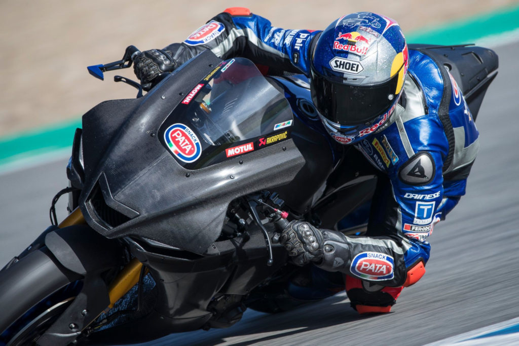 Toprak Razgatlioglu in action at Jerez. Photo courtesy Yamaha.