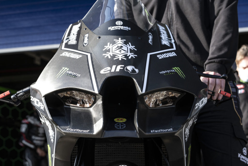 A head-on shot of the new Kawasaki Ninja ZX-10RR Superbike fairing. The headlight decals are separated by a central ram air intake and flanked by ducting to likely aid aerodynamics while combating front-end lift. Photo courtesy Kawasaki.