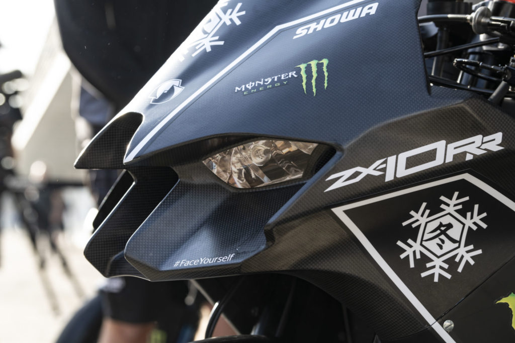 Another partial side shot of the new Kawasaki Ninja ZX-10RR Superbike fairing shows its protrusion into oncoming air, which likely has a similar affect to that of aerodynamic winglets seen on the sides of other Superbikes. Photo courtesy Kawasaki.