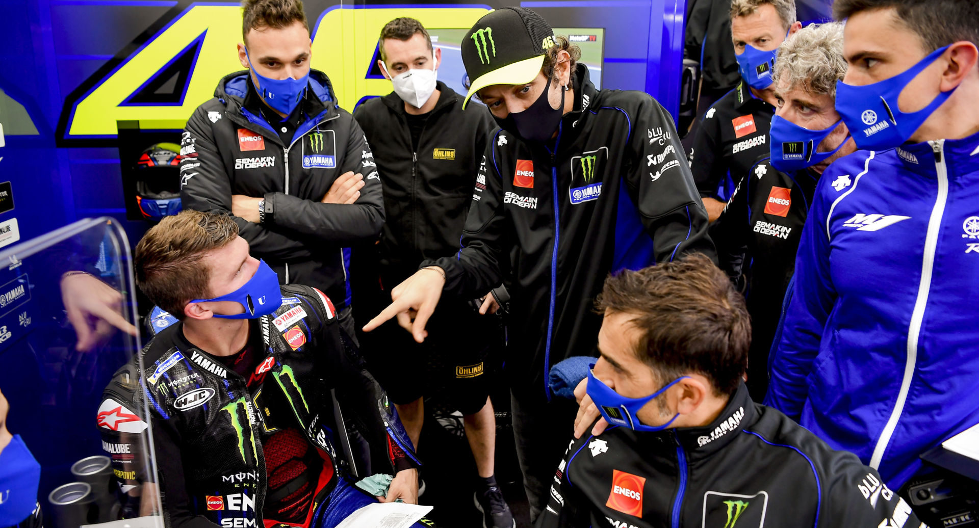 After passing a second COVID-19 test, Valentino Rossi (in Monster Energy hat) will take over for