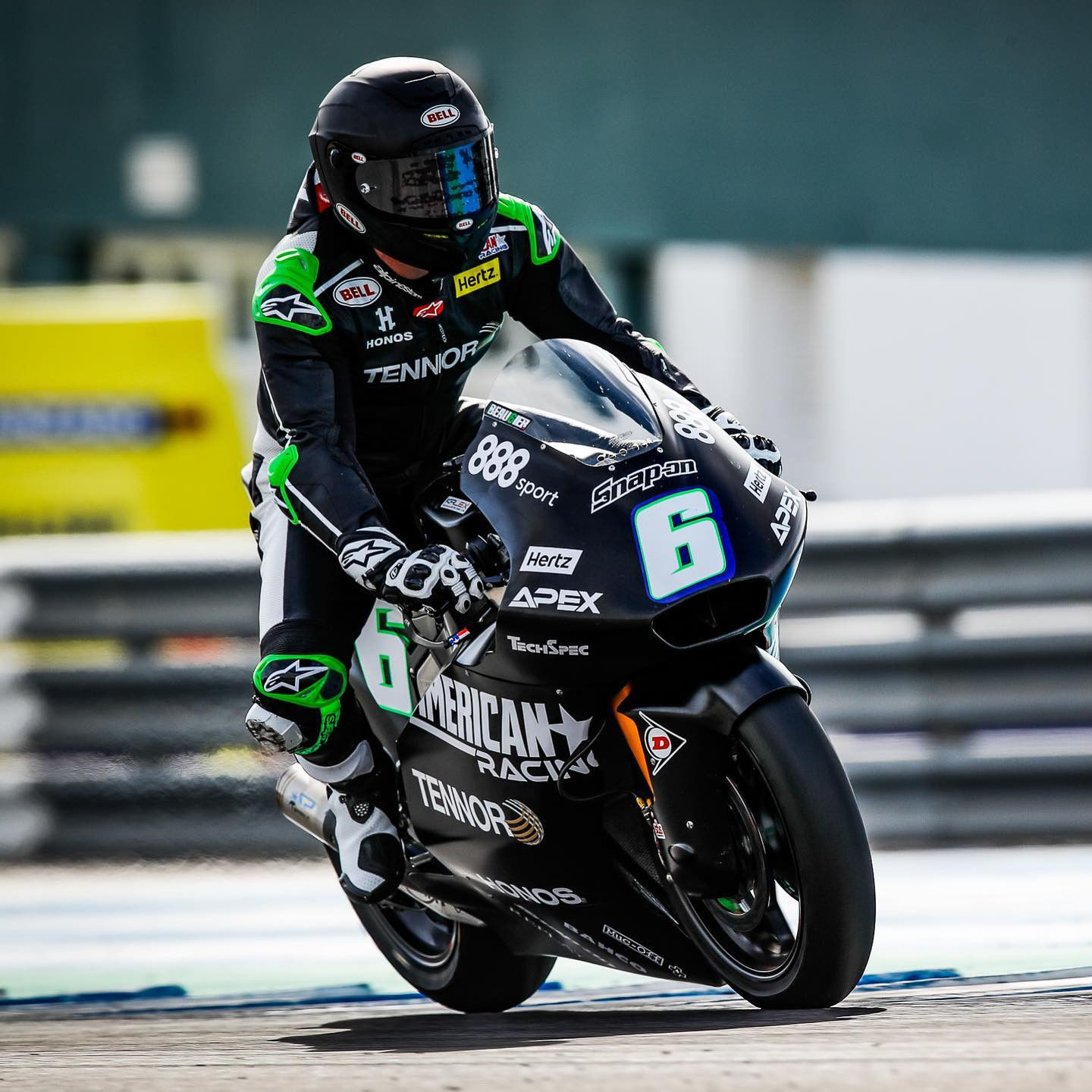 Cameron Beaubier (6) in action on his new Kalex Moto2 racebike at Jerez. Photo courtesy American Racing Team.