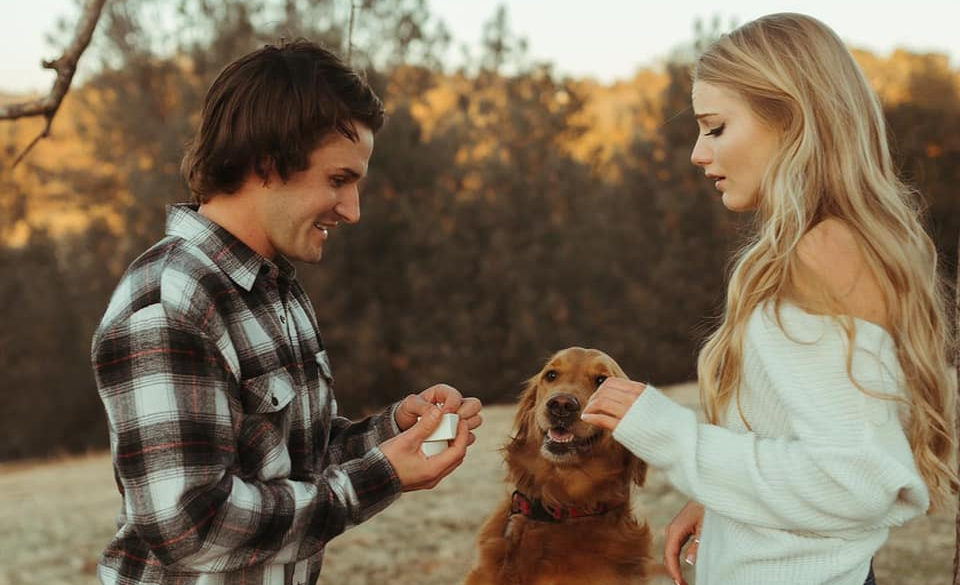 Cameron Beaubier popping the question to girlfriend Shelby Smith. Photo courtesy Cameron Beaubier.