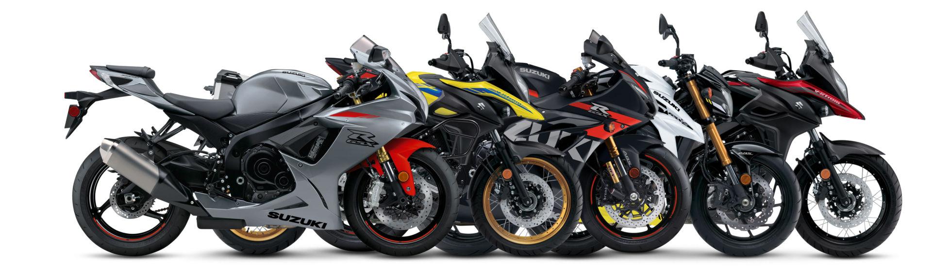 2021 model Suzuki motorcycles (from left): GSX-R750, V-Strom 650XT Adventure, GSX-R1000R, GSX-S750 ABS, and V-Strom 650XT. Photo courtesy Suzuki Motor of America, Inc.
