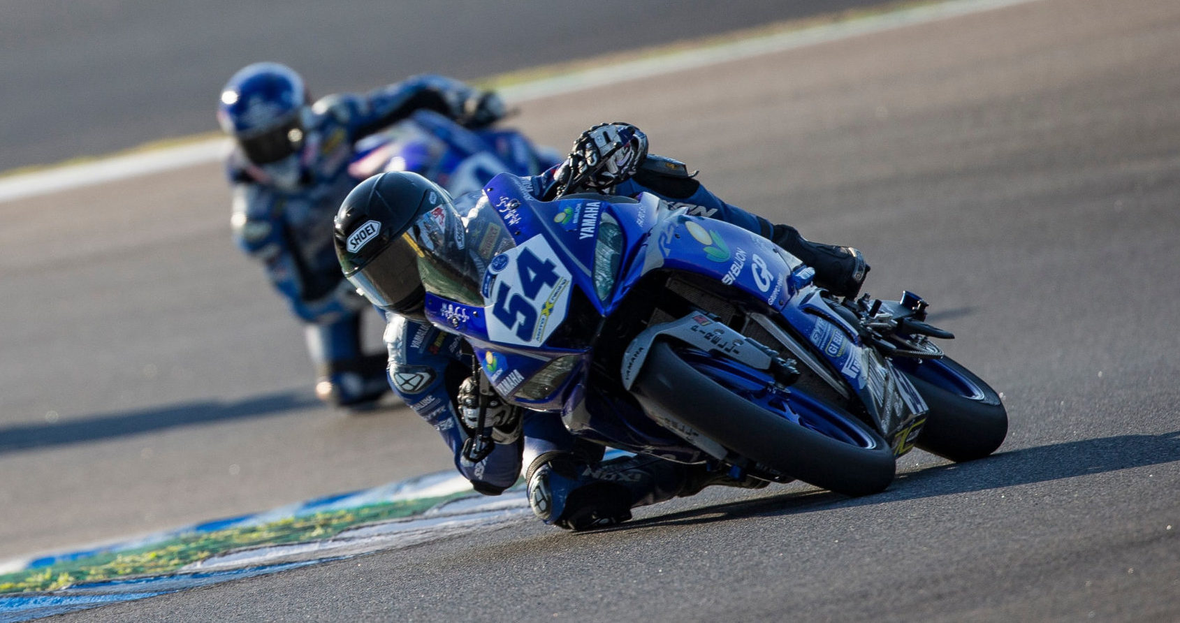 Yamaha bLU cRU rider Bahattin Sofuoglu (54) in action. Photo courtesy Yamaha Motor Europe.