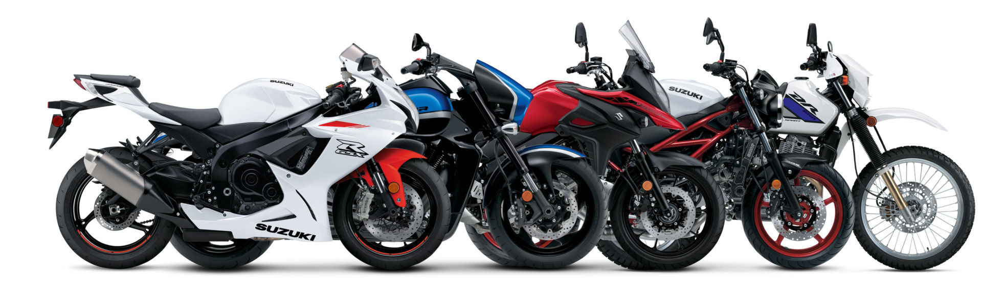 2021 Suzukis (from left): a GSX-R600, a Boulevard M109R B.O.S.S, a V-Strom 650, a SV650, and a DR650S. Photo courtesy Suzuki Motor of America, Inc.