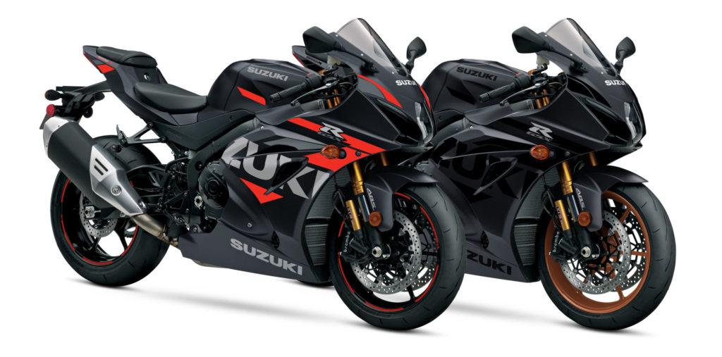 A pair of 2021 Suzuki GSX-R1000R sportbikes. Photo courtesy Suzuki Motor of America, Inc.