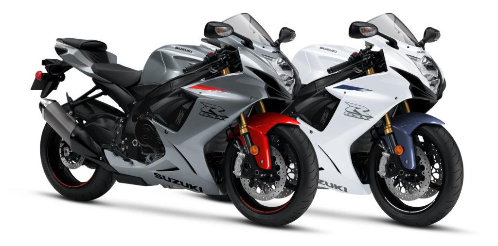 A pair of 2021 Suzuki GSX-R750 sportbikes. Photo courtesy Suzuki Motor of America, Inc.
