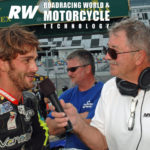 Daytona International Speedway public address announcer and former racer Richard Chambers (right) interviewing former Latin America Superbike Champion and current Sporting Director for the Italtrans Racing Moto2 World Championship team Robertino Pietri (left) at Daytona International Speedway in 2016. Photo by David Swarts.