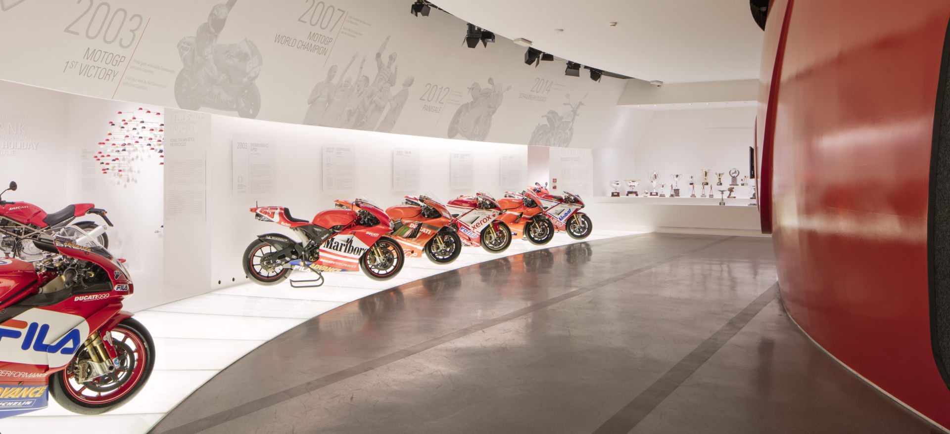 One of the display halls at the Ducati Museum in Bologna, Italy. Photo courtesy Ducati.