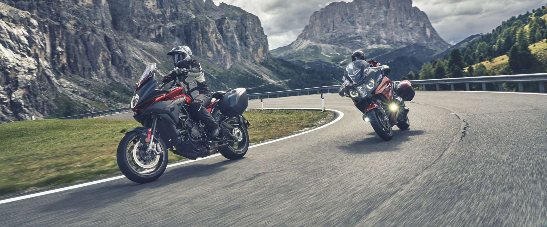 Motorcycles fitted with Bridgestone's new Battlax T32 tires in action. Photo courtesy Bridgestone.
