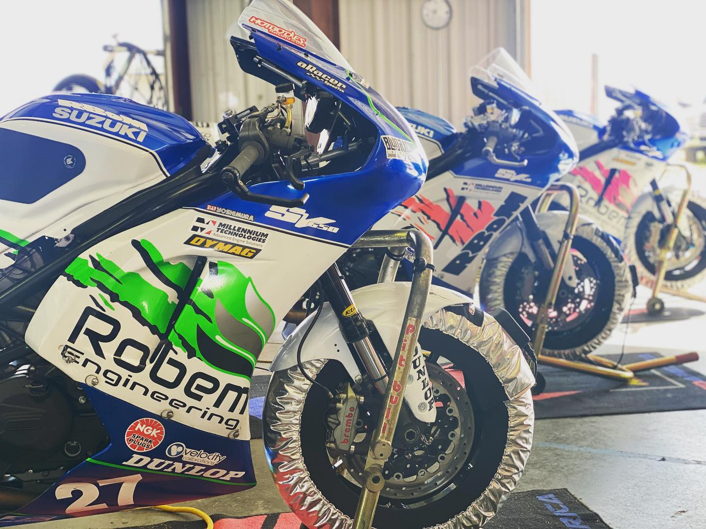 Robem Engineering-sponsored MotoAmerica Twins Cup racebikes with K-Tech suspension components. Photo courtesy Robem Engineering.