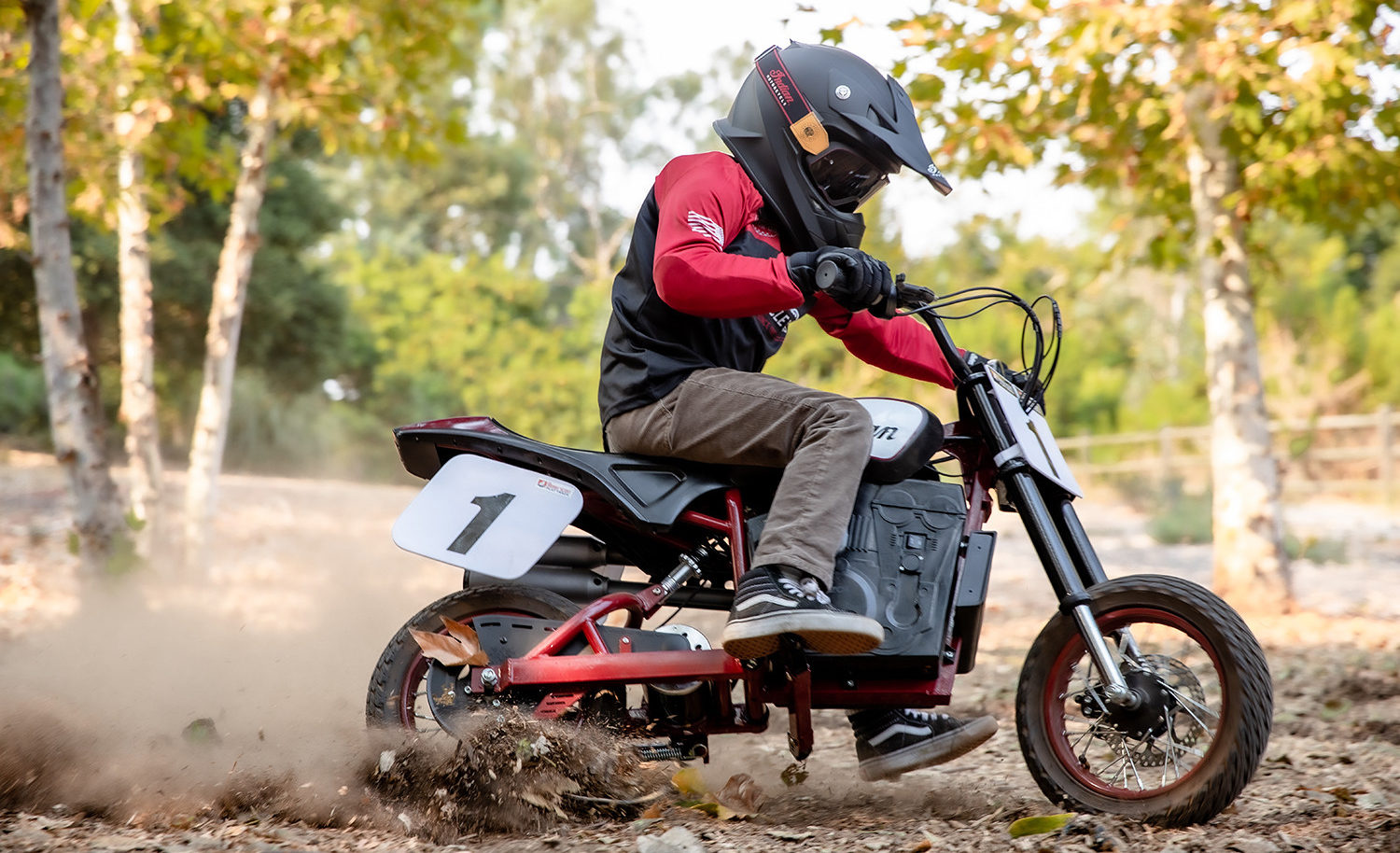 A child riding an Indian eFTR Jr. electric mini bike. Photo courtesy Indian Motorcycles.