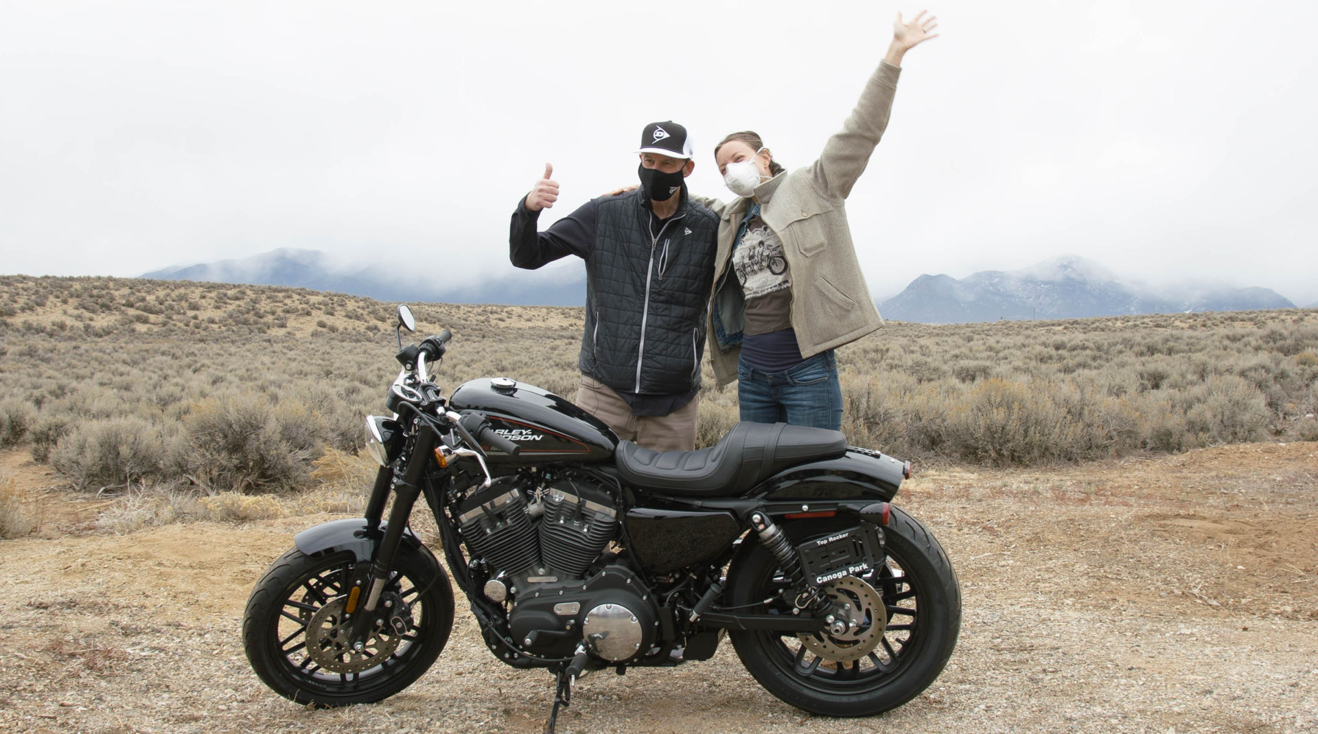 Mike Buckley, Senior VP, Sales and Marketing, Dunlop Motorcycle Tires (left) with Physician Assistant Darwin Longfellow (right) and her new 2020 Harley-Davidson XL1200 Sportster Roadster. Photo courtesy Dunlop.