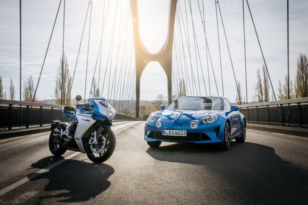 An MV Agusta Superveloce Alpine and an Alpine A110 sports car. Photo courtesy MV Agusta.