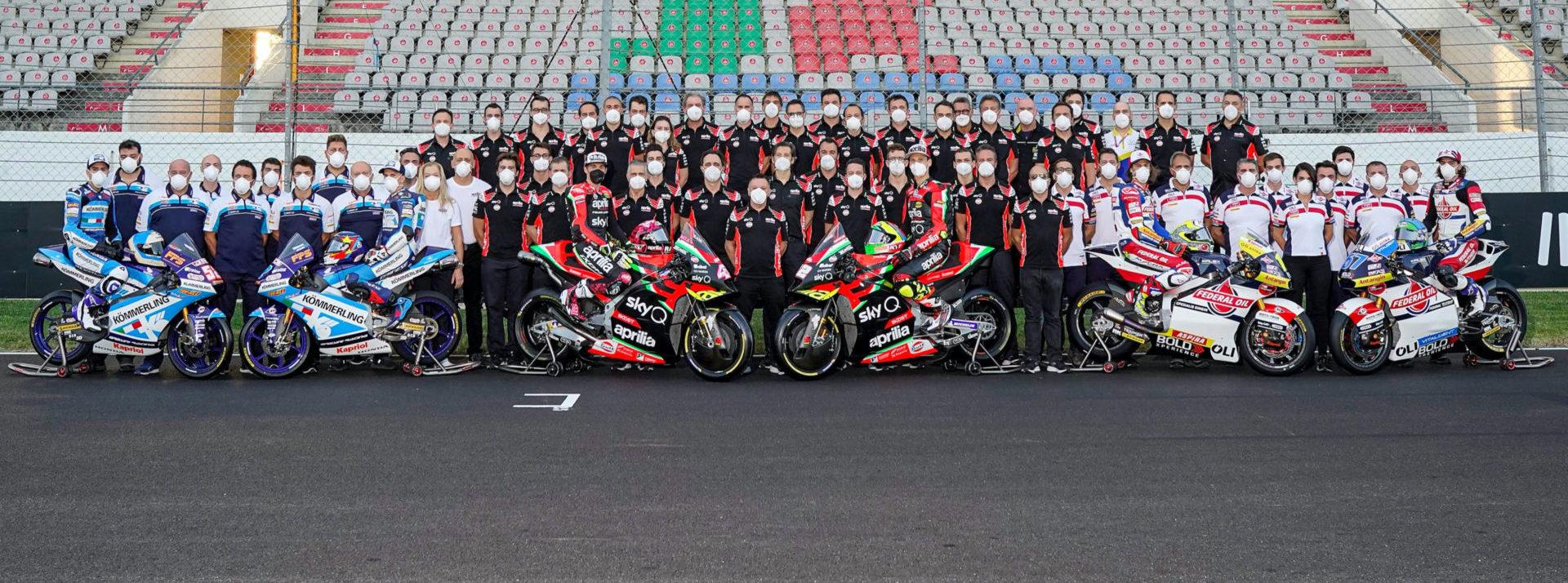 The 2020 Gresini Racing teams with the Aprilia Gresini MotoGP unit in the middle. Photo courtesy Gresini Racing.
