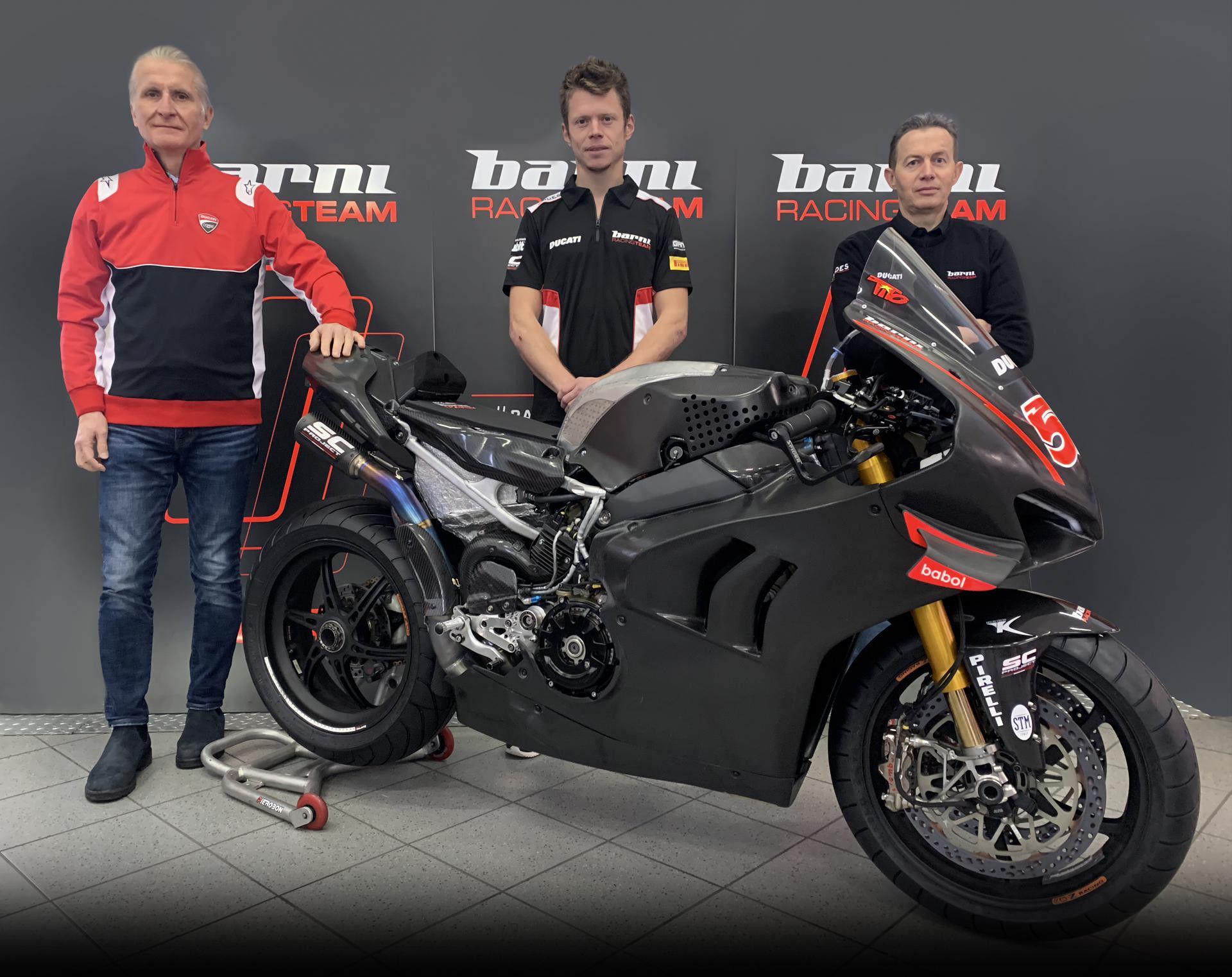 Paolo Ciabatti, Sporting Director Ducati Corse (left), Tito Rabat (center), and Barni Racing Principal Marco Barnabo (right). Photo courtesy Barni Racing.