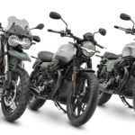 "To celebrate its 100th anniversary, Moto Guzzi is producing selected 2021 models in a ""special centennial celebratory livery."" Seen here are (from left) a V85 TT, V7 Stone, and a V9 Bobber. Photo courtesy Moto Guzzi."