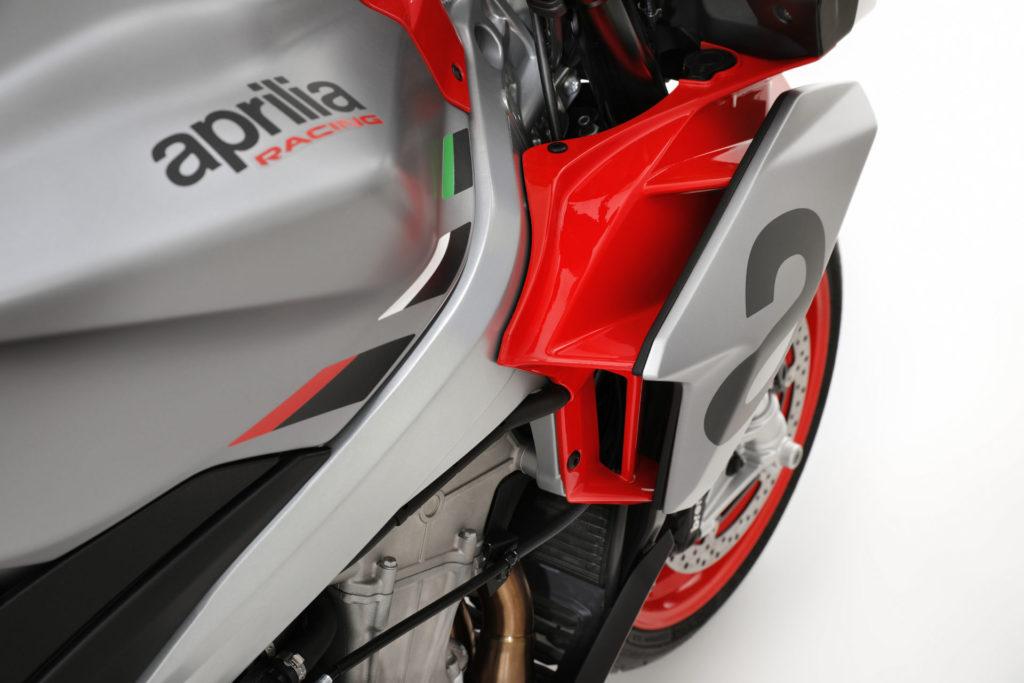 """A close up of the """"double fairing"""" aerodynamic concept on the Aprilia Tuono 660. Photo courtesy Aprilia."""