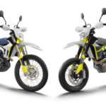 A 2021-model Husqvarna 701 Enduro (left) and a 2021-model Husqvarna 701 Supermoto (right). Photo courtesy Husqvarna.