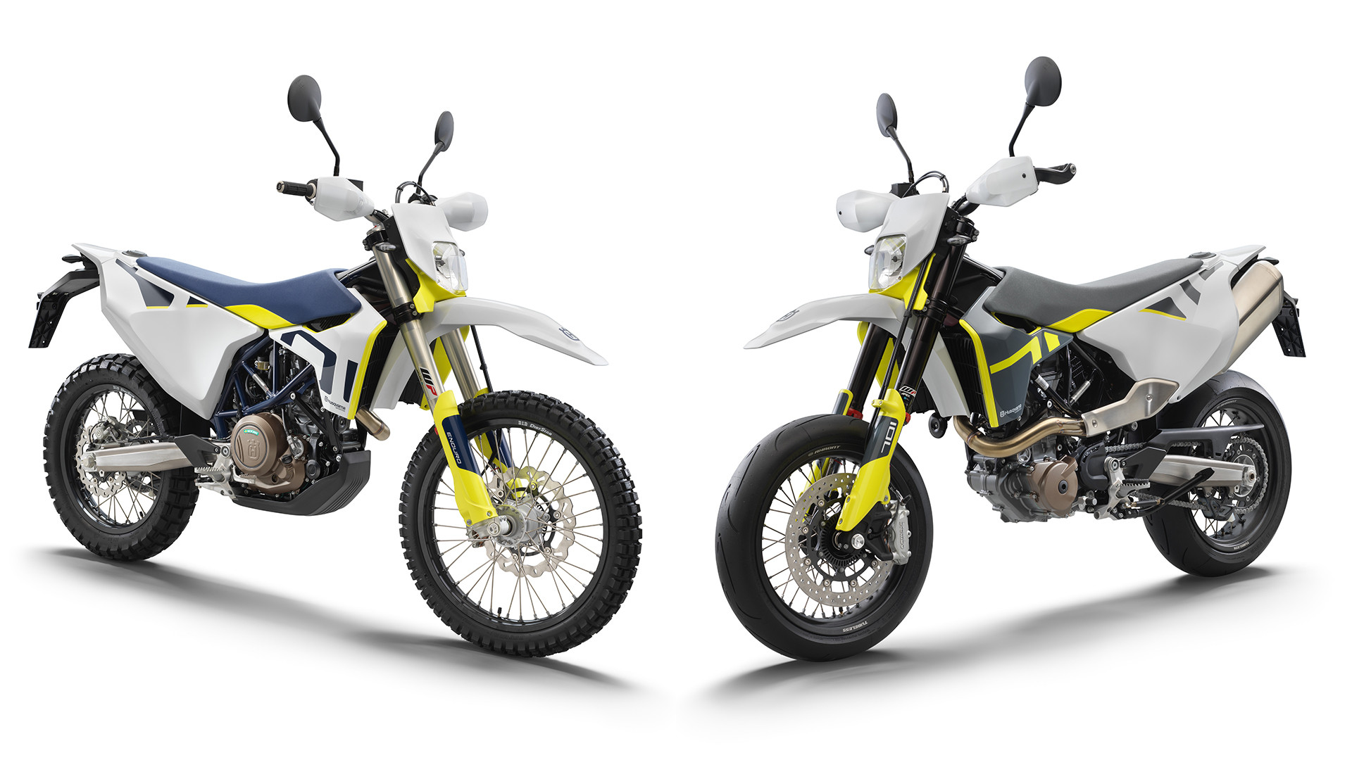 A 2021-model Husqvarna 701 Enduro (left) and a 2021-model Husqvarna 701 Supermoto (right). Photo courtesy Husqvarna.