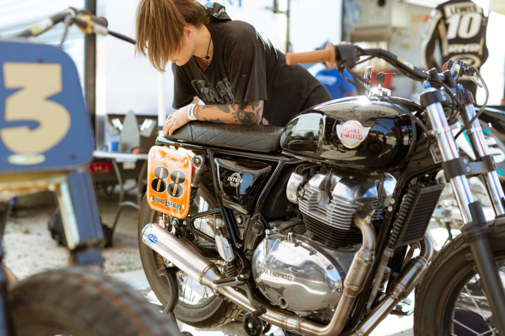 An S&S Cycle exhaust system fitted to a Royal Enfield INT 650 flat track bike. Photo courtesy Royal Enfield.