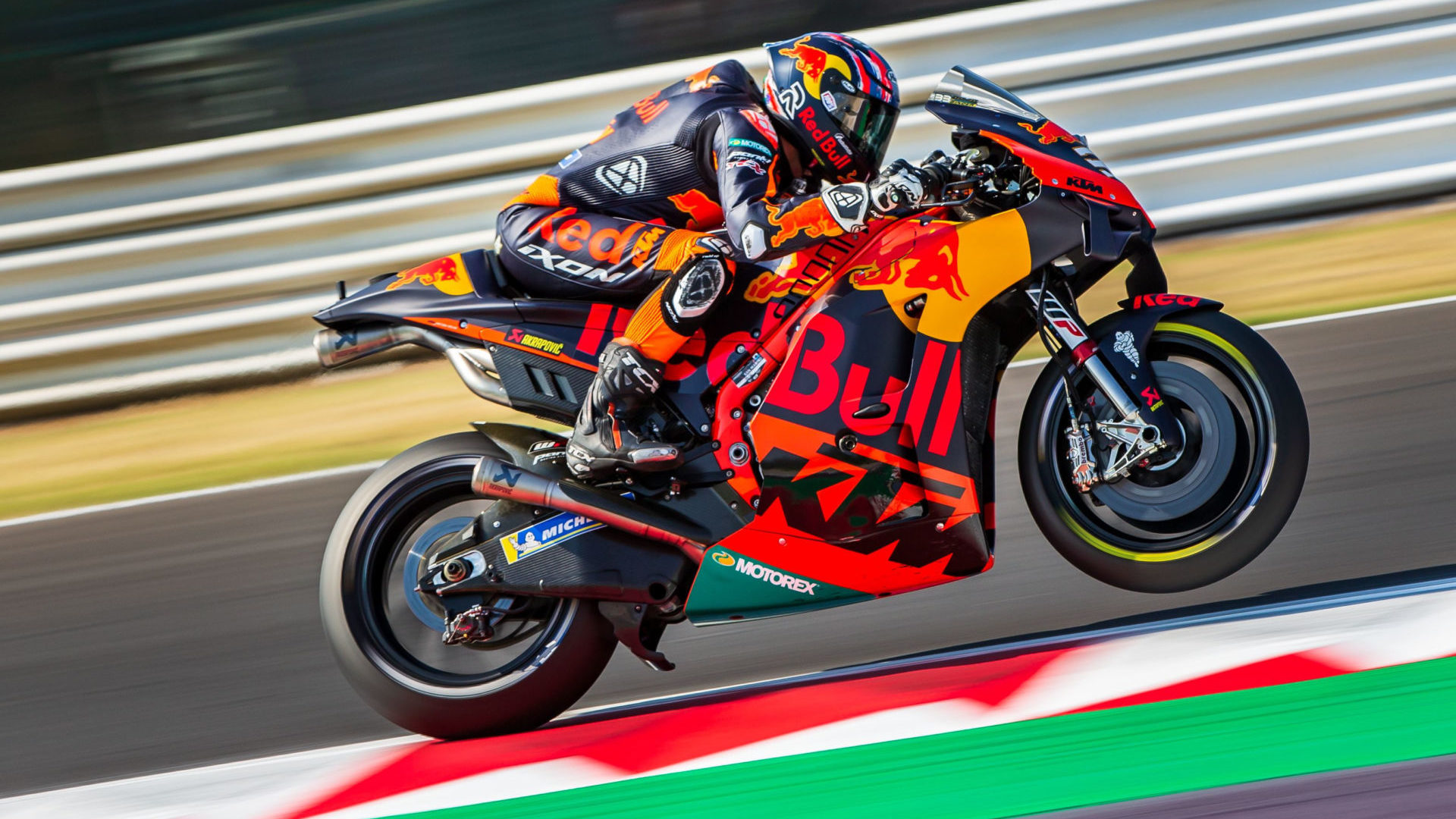 Brad Binder (33) on his Red Bull KTM RC 16 MotoGP racebike. Photo by Polarity Photo, courtesy KTM.