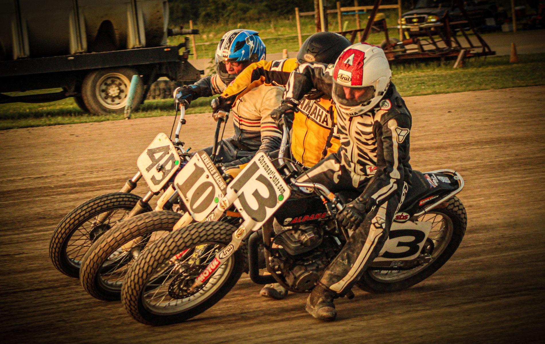 David Aldana (13) and others at an AHRMA vintage dirt track event. Photo courtesy AHRMA.