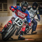 AHRMA dirt track racer Joey Raborn (12). Photo by Larry Mayo, courtesy AHRMA.