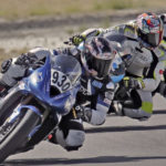 Kimberly Prichard (930) leads two other SMRI racers at Sandia Speedway, in New Mexico. Photo courtesy SMRI.