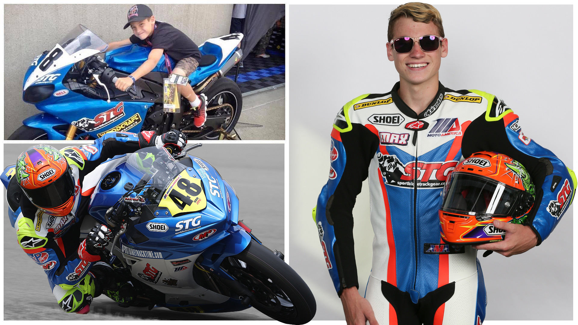 Max Van age 7 at the Red Bull Indianapolis GP in 2013 (top left) and at age 14 during the 2020 MotoAmerica season (bottom left and right). 2020 photos by Brian J. Nelson, courtesy SportbikeTrackGear.com.