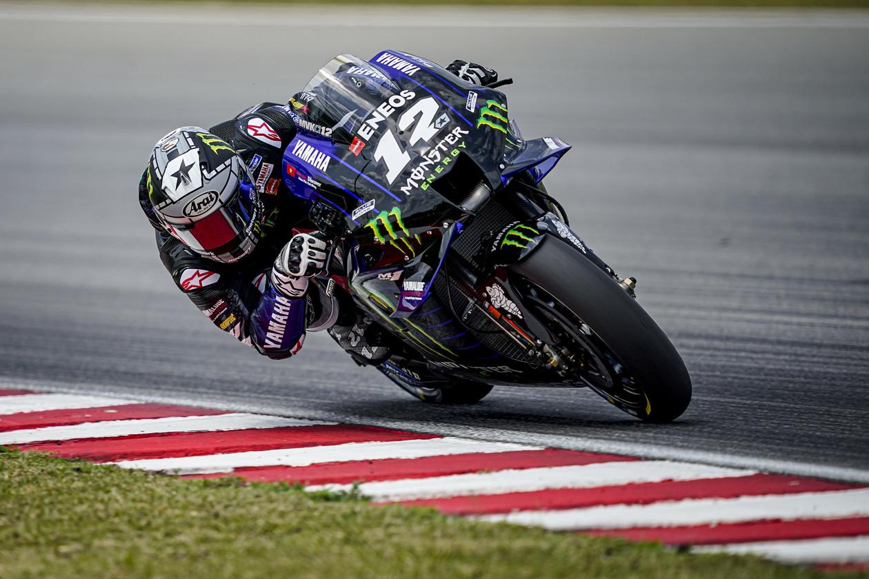 Maverick Vinales (12) testing at Sepang ahead of the 2020 MotoGP season. Photo courtesy Monster Energy Ysamaha.
