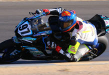 Rocco Landers (97) at speed on the MP13 Racing Yamaha YZF-R6 during a CVMA race at Chuckwalla Valley Raceway. Photo by CaliPhotography, courtesy Landers Racing.