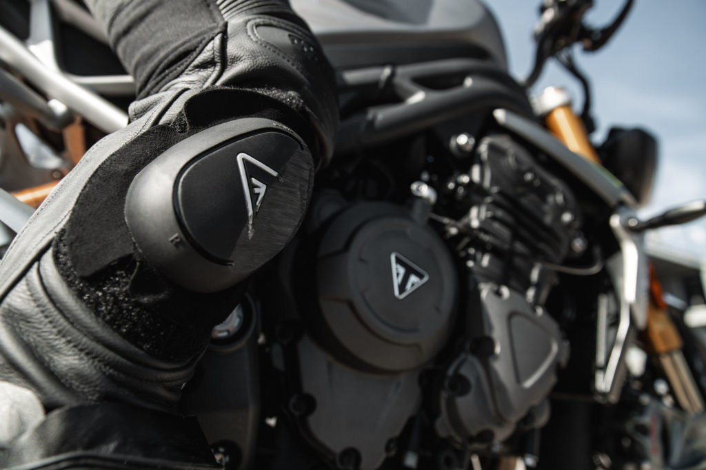 Triumph claims the 1160cc inline three-cylinder engine in the new Speed Triple 1200 RS produces 177 horsepower and 92 lbs.-ft. of torque. Photo courtesy Triumph.
