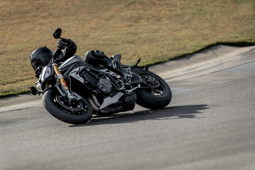 A test rider demonstrating the 2021 Triumph Speed Triple 1200 RS's new handling capabilities. Photo courtesy Triumph.