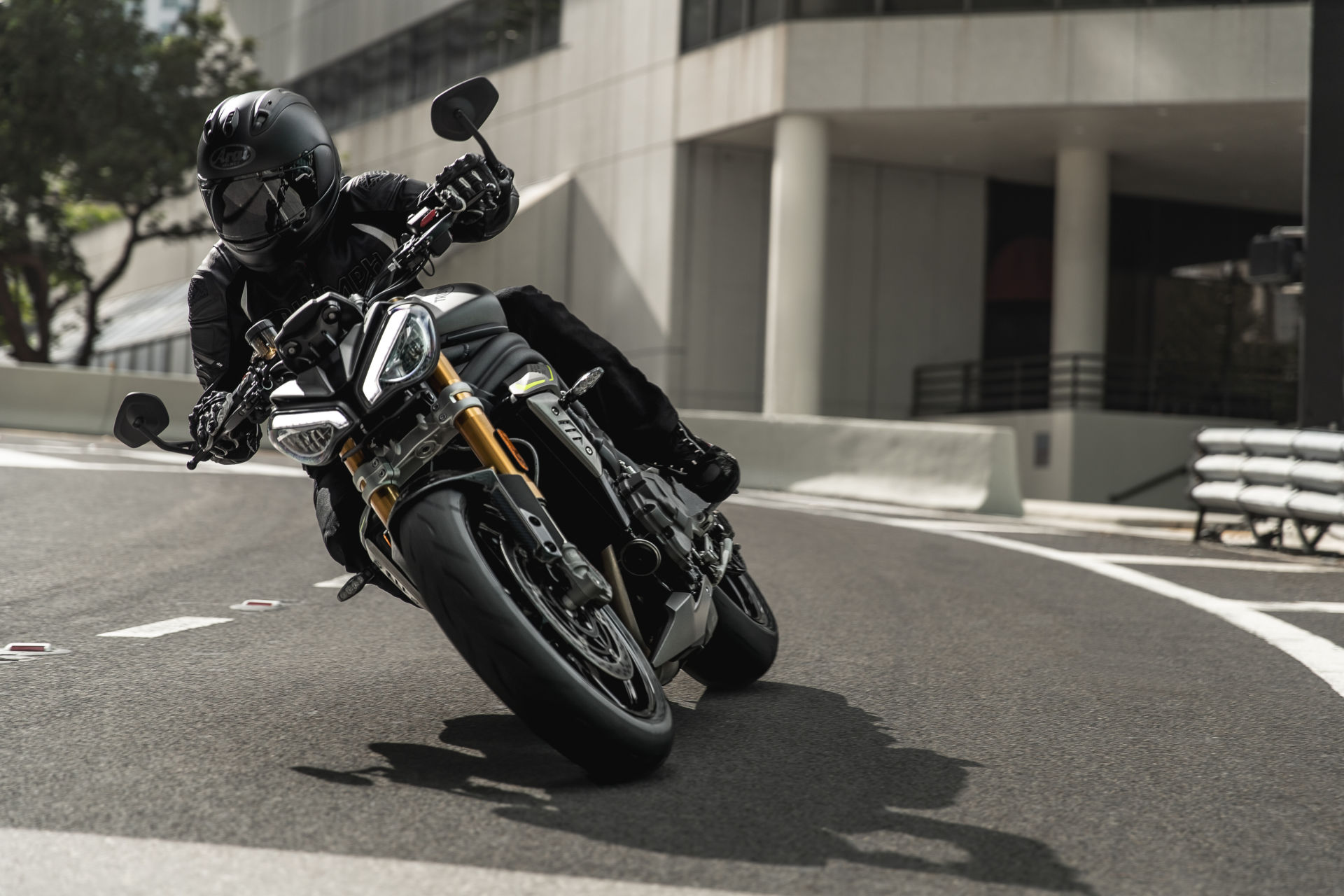 A 2022 Triumph Speed Triple 1200 RS at speed on the streets of Miami. Photo courtesy Triumph.