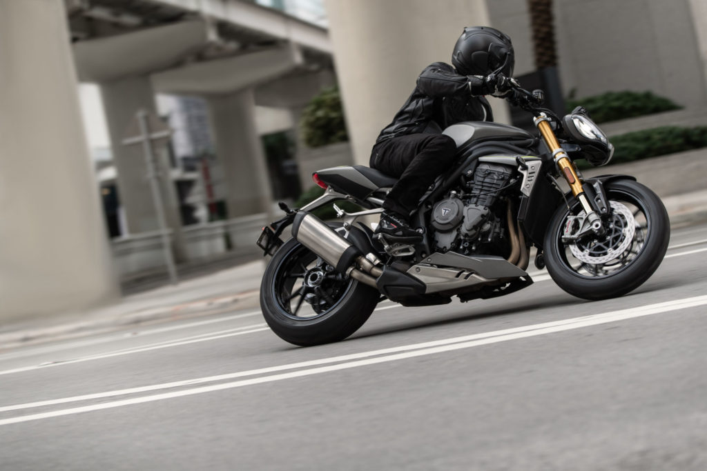 A 2021 Triumph Speed Triple 1200 RS at speed on the streets of Miami. Photo courtesy Triumph.
