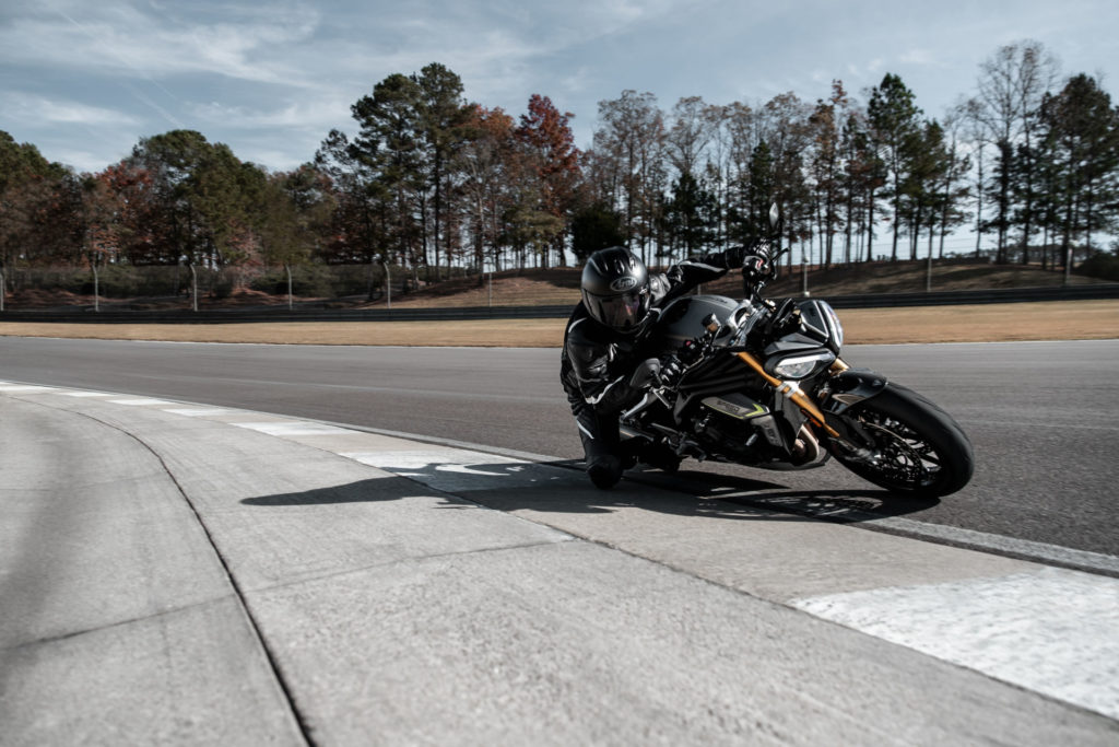 A 2021 Triumph Speed Triple 1200 RS at speed at Barber Motorsports Park. Photo courtesy Triumph.