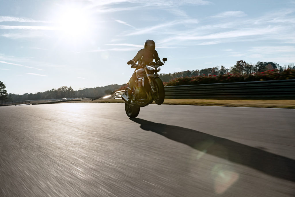A Triumph test rider utilizing the new, more powerful engine in the 2021 Speed Triple 1200 RS at Barber Motorsports Park. Photo courtesy Triumph.
