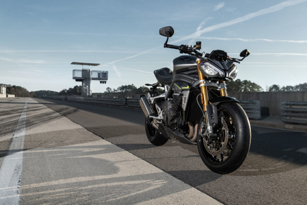 A 2021 Triumph Speed Triple 1200 RS at rest at Barber Motorsports Park. Photo courtesy Triumph.
