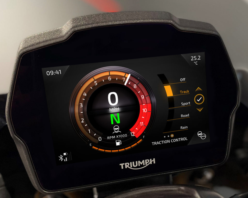 The new, five-inch TFT instrument panel on the 2021 Triumph Speed Triple 1200 RS during a Traction Control setting adjustment. Photo courtesy Triumph.