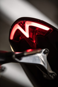The 2021 Triumph Speed Triple 1200 RS has all-LED lighting and a distinctive taillight. Photo courtesy Triumph.
