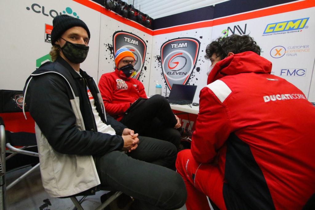 Chaz Davies (left) is planning to do some back-to-back testing at Jerez. Photo courtesy Dorna WorldSBK Press Office.