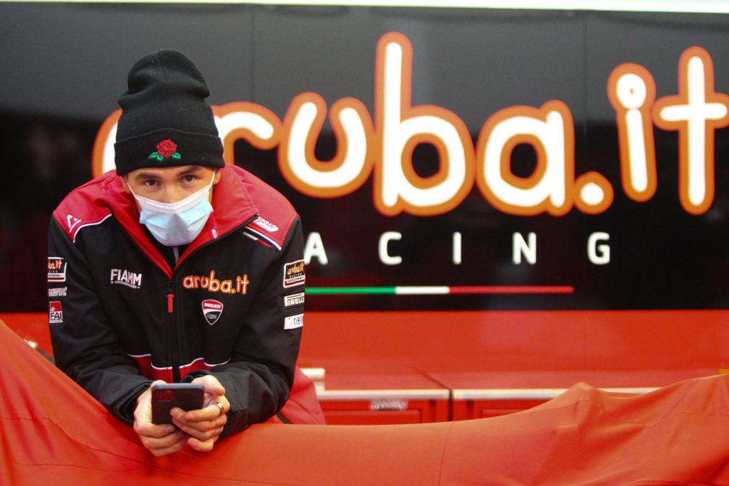 Scott Redding passing time Wednesday at Jerez. Photo courtesy Dorna WorldSBK Press Office.