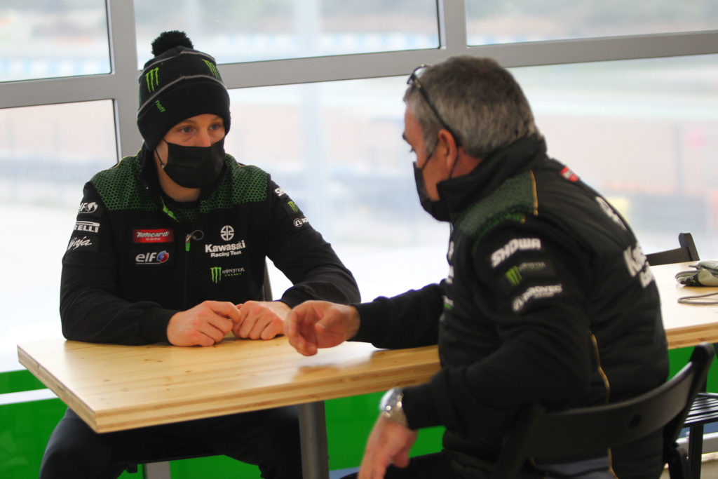 Jonathan Rea (left) chose not to ride in Wednesday's wet conditions at Jerez. Photo courtesy Dorna WorldSBK Press Office.