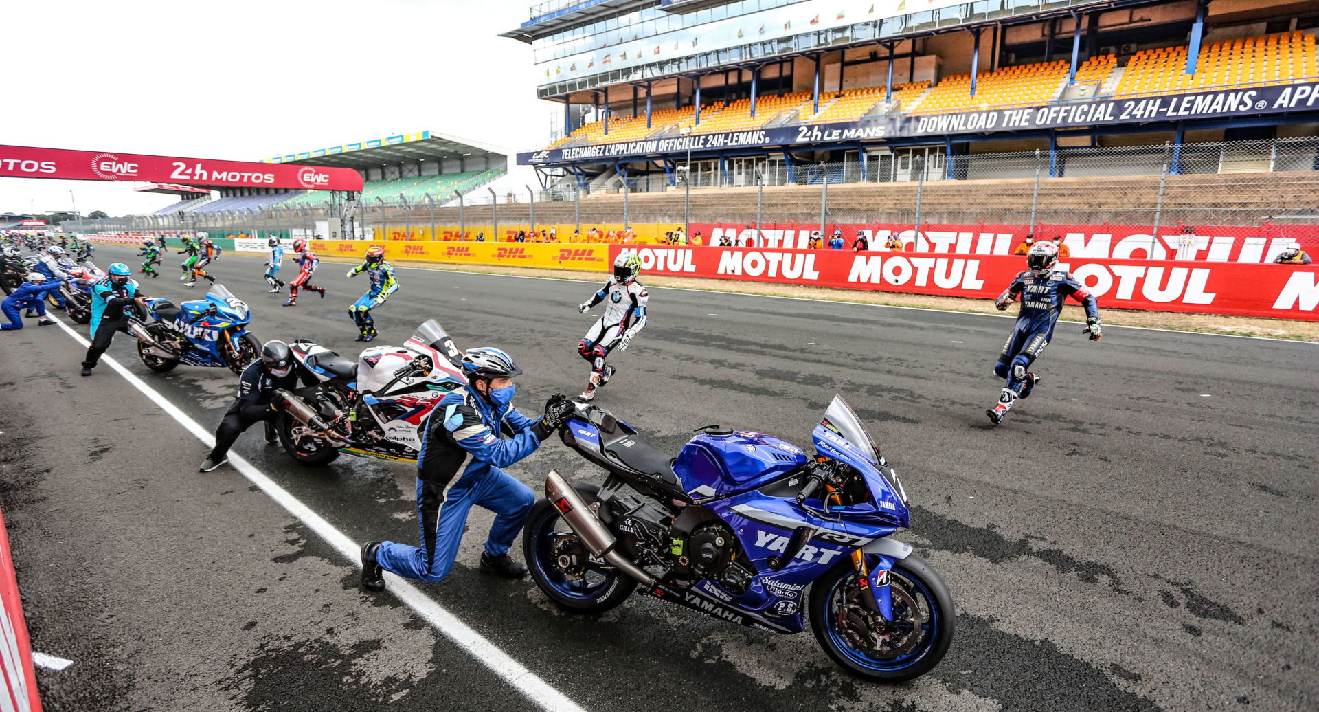 The start of the 24-Hours of Le Mans with no spectators in the grandstands in 2020. Photo courtesy Eurosport Events.