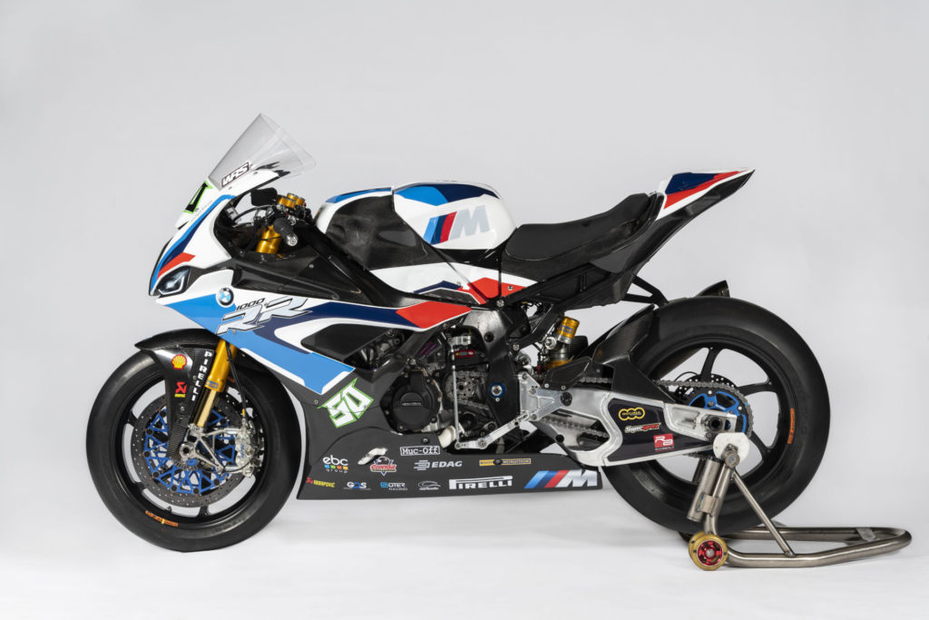 Eugene Laverty's 2020 BMW S1000RR factory World Superbike with a GBRacing engine case cover installed. Photo courtesy BMW Motorrad Motorsport.