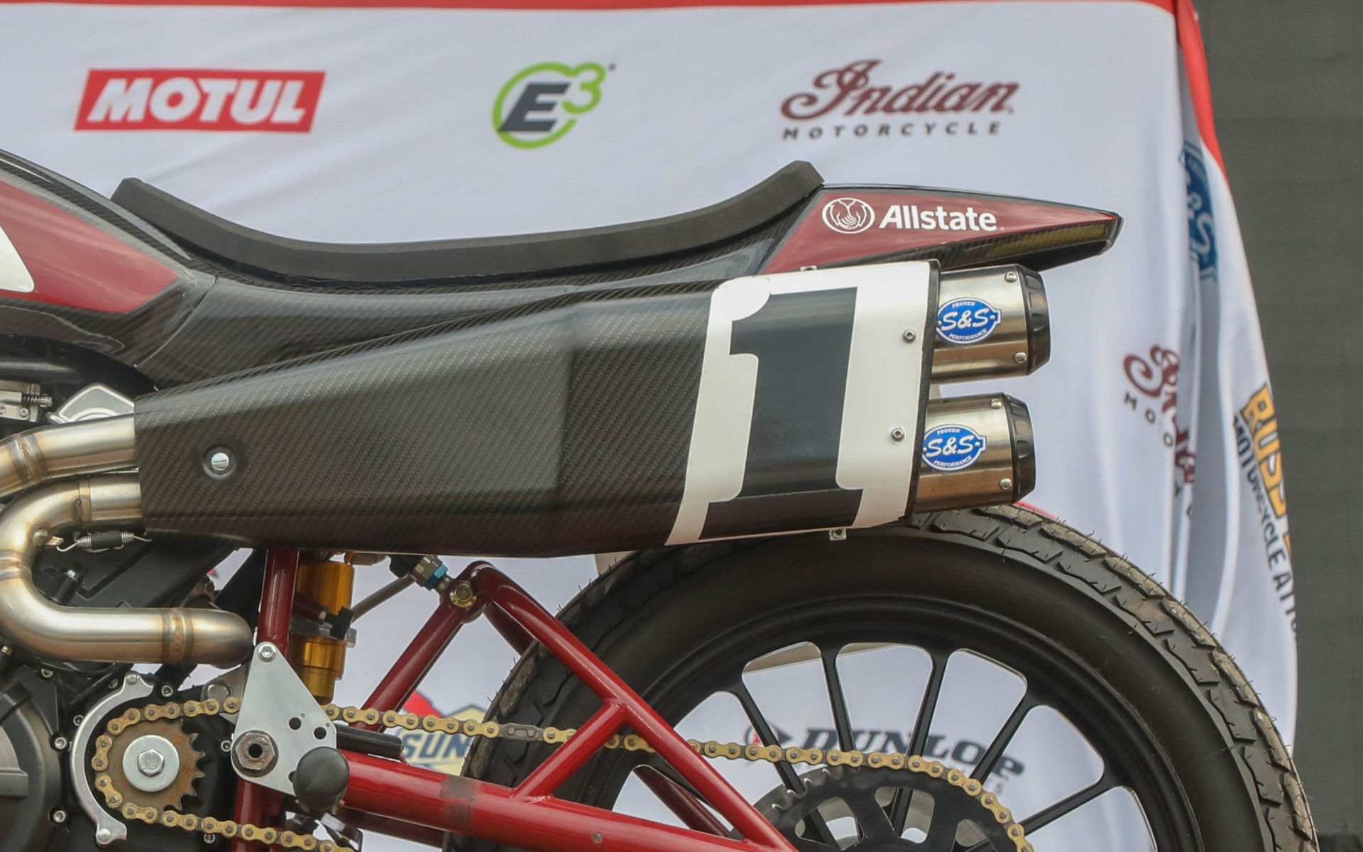 An S&S Cycle exhaust system on Briar Bauman's Indian FTR750 AFT SuperTwins racebike. Photo courtesy AFT.