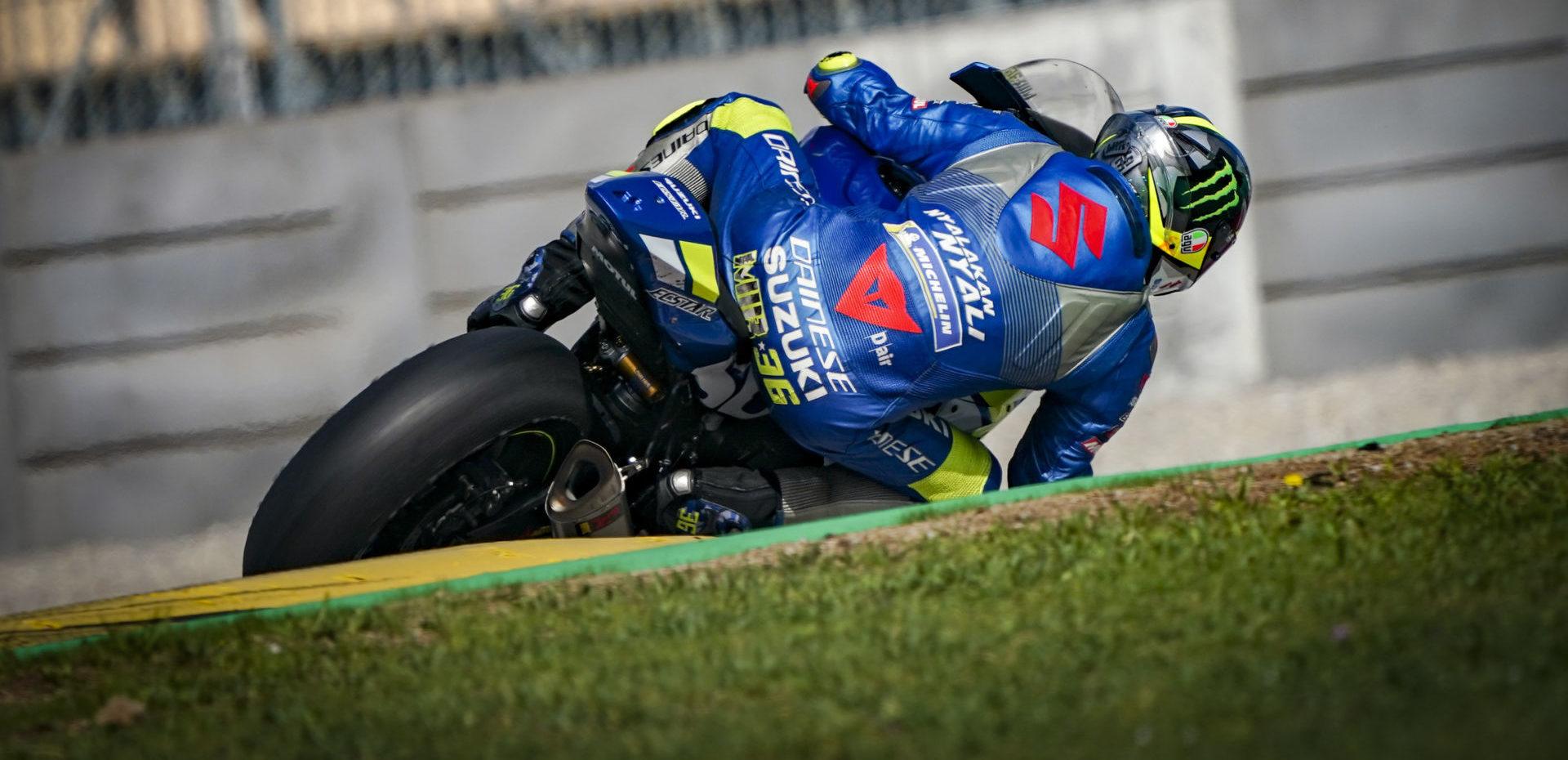 2020 MotoGP World Champion Joan Mir riding a Suzuki GSX-R1000 at Circuit de Barcelona-Catalunya. Photo courtesy Dorna.